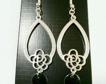 """Earrings """"jewel forever"""" form chandelier silver and black"""