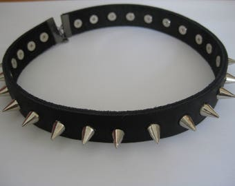Leather choker with spikes. Men's Gothic spike choker, men's leather choker, spiked choker for men
