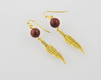 Earrings Pearl natural and feathers
