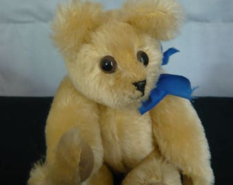Handmade Artist Teddy Bear, Gold colour Mohair with Suede pads and paws