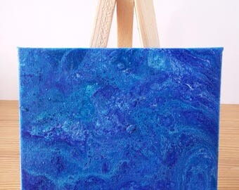 "Abstract Art Acrylic Painting Original | ""Ocean Blue"" 7cm x 9cm Canvas With Easel"