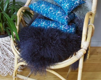 Kidney Bohemian teal cotton wedge pillow