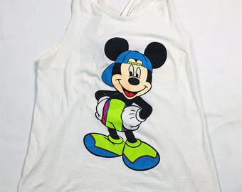 90s Vintage One Size Fits All Women's White Disney Mickey Mouse Tank Top