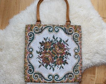 70s Tapestry Handbag With Fringed Edge Leather Handle Floral Pattern