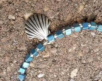 Seashell Sky Blue beaded bracelet with Toggle