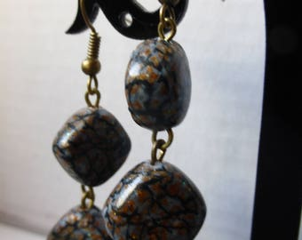 Earrings dangling copper grey marbling