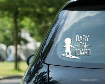Baby on board sign surfing, surfing boy, vinyl on decal paper, car decal, kid on board, surfing kid