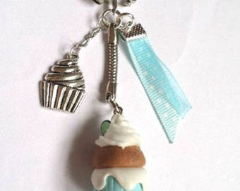 Winter blue and white Fimo cupcake keychain