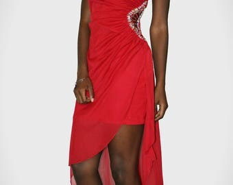 Strapless Red Embellished High-Low Homecoming/ Prom Dress
