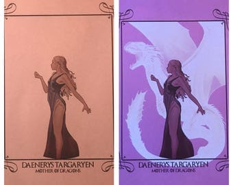Daenerys Targaryen UV/Blacklight reactive print. Reveal her Dragon! Game of Thrones *FREE Shipping!