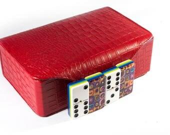 Color Study by Kandinsky Jumbo Domino Double Six, 5 Coats 100% Acrylic. Deluxe Leather Case