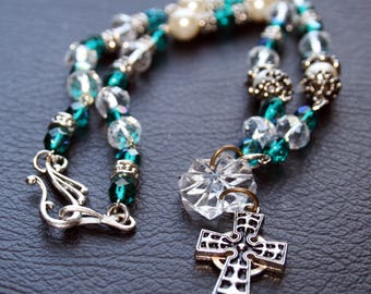 Crystal Bead Celtic Cross Necklace