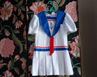 girls sailor  costume size 5 red white blue patriotic anchor halloween friendly non-scary comfortable shirley temple polycotton blend