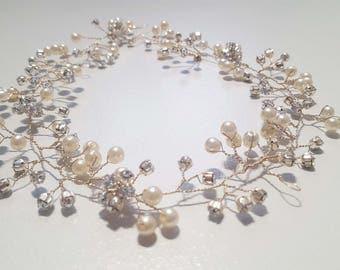Silver and Ivory Swarovski Crystal Hair Vine