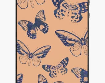 Blue Butterflies on Peach iPhone Skin // iPhone 4/4S/5/5C/5S/SE/6/6 Plus