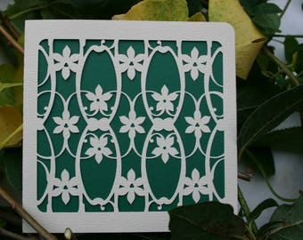 Greeting card, flowers on grid