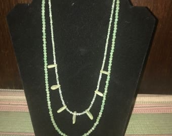 Sea Glass and Jade 20 inch double necklace