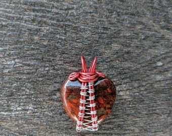 Brecciated Red Jasper Heart Path Wire Wrap Pendant