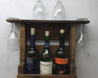 Wall Wine Rack - Small w/ Glass Holder