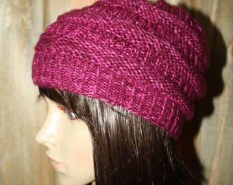 Raspberry Horizontal Stripes Hat