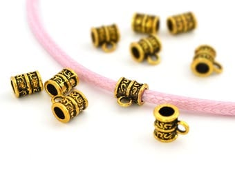 5 busy ethnic Golden beads 4mm cord, metal