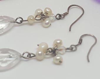 Clear Glass & Faux Pearl Dangle Earrings With 925 Silver Fishhook