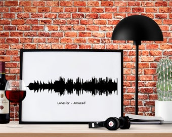 SOUND WAVE A2 Print. Your Voice, Heart Beat, or Favourite Song. Present, Love, Family, Wedding, Birthday, Christmas, Gift