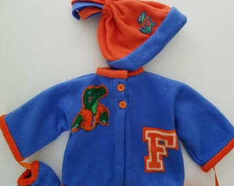 University of Florida baby jacket, hat, mittens
