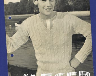 Original Vintage Jaeger Men's Knitting Pattern 3437 - Two Sports Sweaters to fit a 38-40 inch Chest