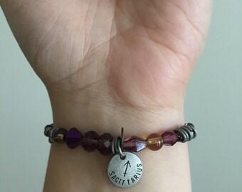Sagittarius Elastic Beaded Bracelet WOMENS Beaded Zodiac Bracelet