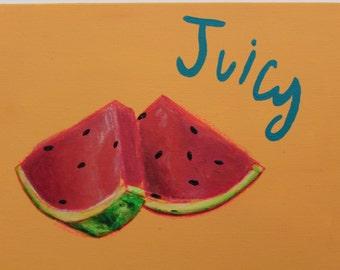 "Watermelon Painting, Still life, ""Juicy fruit"", Canvas Panel"