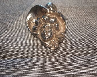 Sterling Silver Derby Hat Lady Pin Brooch