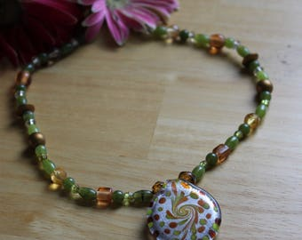 OOAK Green and Copper Necklace