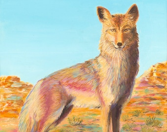 Desert Coyote Original Oil Painting on Canvas