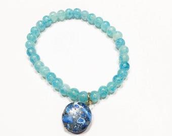Blue Glass Beads with Blue Stone Charm Bracelet