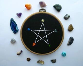 Witchy Element Pentagram Embroidery