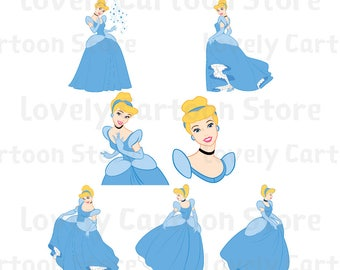 Cinderella Svg, Eps, Dxf and Png formats - 7 Postures Clipart - Disney Princess - Digital Download