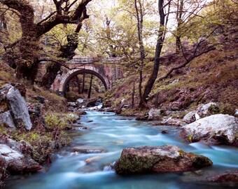 nature photography, nature prints, photography prints, nature art, waterfall print, art prints, river rocks, bridge art, landscape print