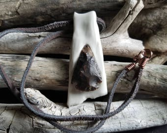 Porcelain and Arrowhead Pendant / Porcelain Jewelry, Ceramic Jewelry, Handmade Pendant