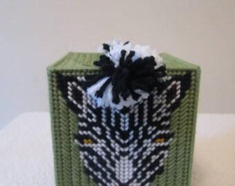 Zebra Needlepoint Tissue Box Cover