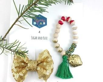 Bracelet & Clip Gift Set, Gold Strawberry Locket Bracelet, Gold Sequin Bow, Birthday Gift, Girl Gift