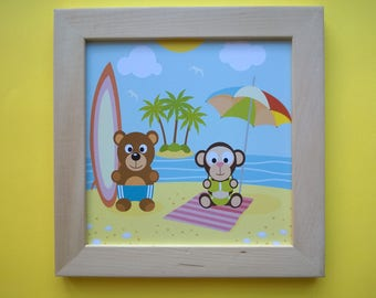Decoration for children's room: Adorable animals, colors blue, yellow, green and blue
