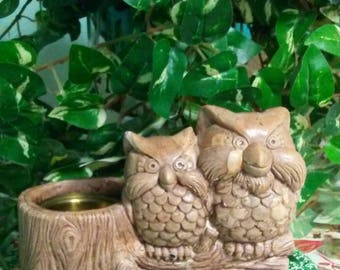 Vintage Owl Planter Pals by Wallace Berrie & Co.