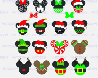 Mickey Christmas SVG, Mickey Head Christmas SVG, Mickey svg, Mickey Christmas svg files for Silhoutte, files pdf, eps, png, jpg, svg