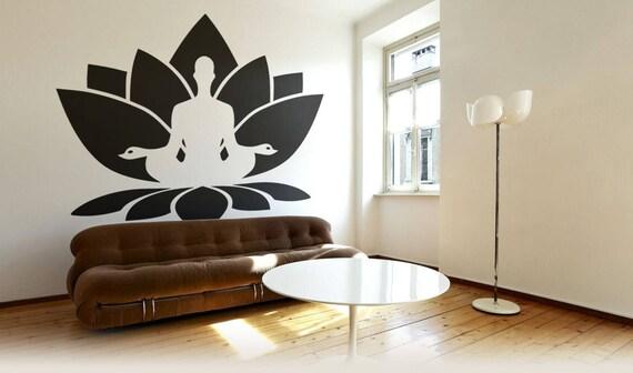 Lotus Flower Meditation Decal Sticker, Nelumbo nucifera, Indian lotus, Sacred lotus, Bean of India, Egyptian bean, Vishnu Lakshmi