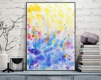 Water and light Abstract painting Contemporary art Modern Wall art Home decor Watercolor painting Living room decor Abstract Art print