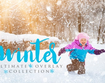 75 Winter Overlays, Holiday Overlay, Christmas Overlay, Book Shine, Snow Overlay, Collection, Photography Overlays