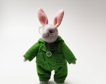 Mini Boy Rabbit Soft Toy / Gentleman Bunny Articulated Doll / Handmade Plushie / Stuffed Animal