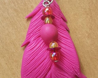 Polymer clay pen, pink with beads