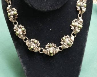 Green stone and Sterling necklace